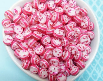 50x 8mm Resin Juicy Glitter Globe beads in Pink with sparkles