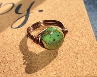 size 8.5 - green turquoise / brown porcelain , antique copper wire wrapped ring - rustic natural handmade women men simple jewelry