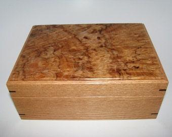 "Spalted Maple Burl Keepsake Box. 8.5"" x 6"" x 3.5"""