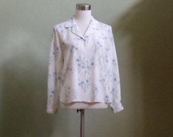 Vintage Liz Baker Floral Print Blouse with Long Sleeves Bust 41 Waist 41