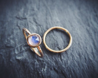 14K Gold And Moonstone Ring Set Hammered Faceted Unique Alternative Womens Wedding Hand Forged Artisan