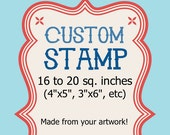 Custom Rubber Stamp - Large Wedding Logo Address Clear 16 to 20 sq in 4x5