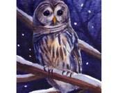 Barred Owl Print Watercolor 10x8 Bird Wall Art by Janet Zeh