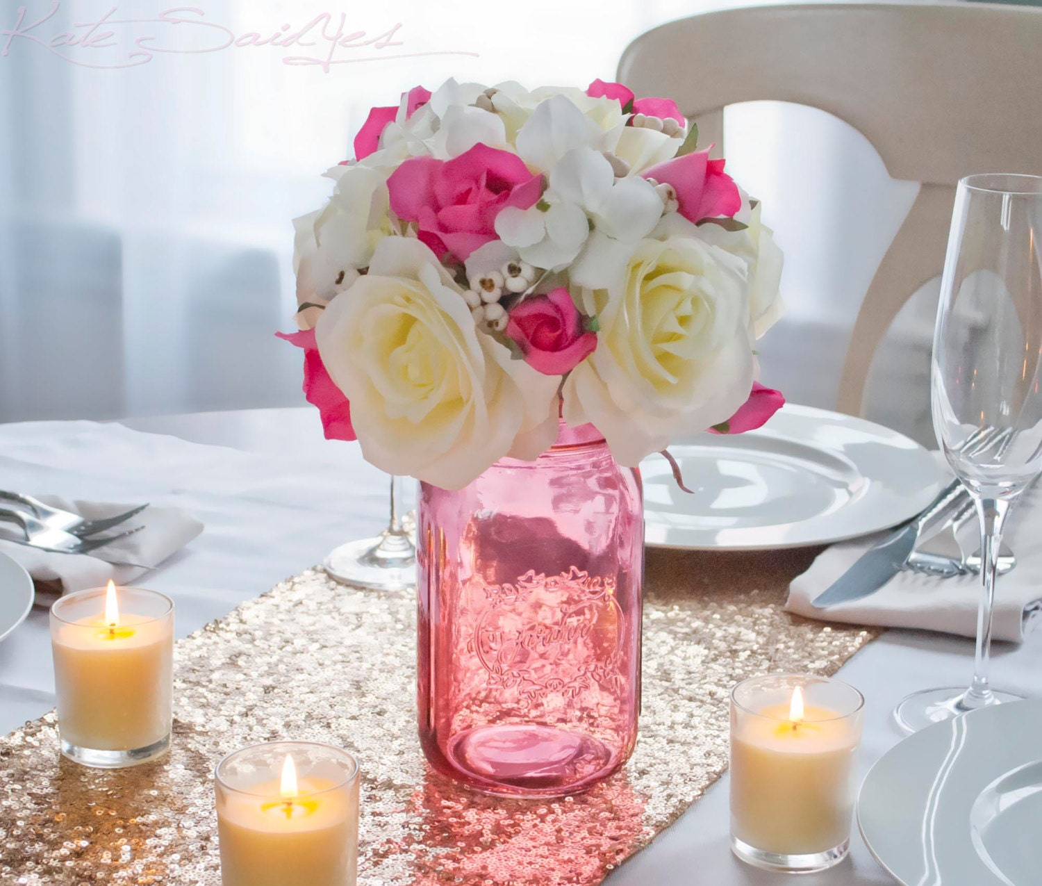 Pink mason jar wedding centerpiece ivory rose and hydrangea