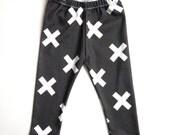 Organic Baby Leggings Black White Cross X Symbol