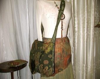 Green Bohemian Bag, with Matching Wallet, long crossover strap, sage olive green hues, paisley shoulder bag