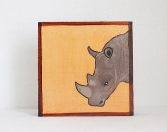 safari nursery art, rhino nursery decor, jungle nursery art, jungle, animal print, rhino, art block, safari, redtilestudio, nursery decor
