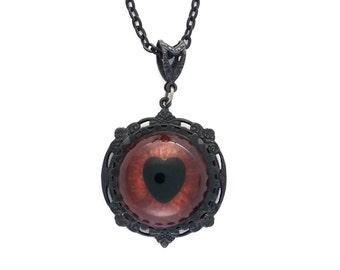 Sightmares ™ © Steampunk Mini Eye Heart in Dark Red set in Black Plated brass by Dr Brassy Steampunk
