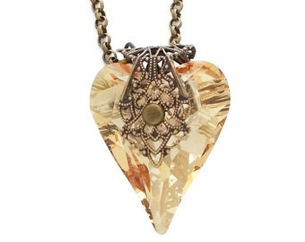 Golden Shadow Swarovski Crystal Heart of Love Necklace in Antiqued Brass Filigree by Dr Brassy Steampunk