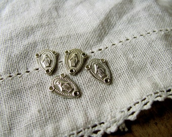 Vintage Virgin Mary Center Rosary Medals Sterling Silver Charms Catholic Supplies Metal Connectors Religious Jewelry Pendant Beaded 3 Holes