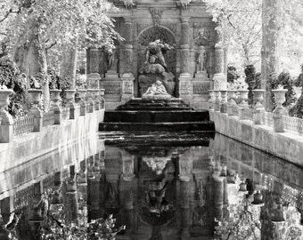 Black and White Paris Photography - Medici Fountain Photograph - Luxembourg Gardens Paris Print Home Decor Reflection Elegant Wall Art