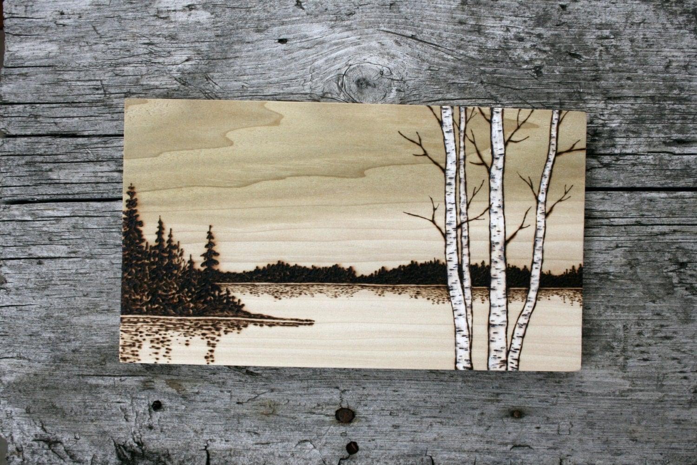 Lakeside birch trees art wood burning