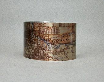 Cuff Bracelet Kalamazoo Michigan Map Unique Hometown Gift for Men or Women