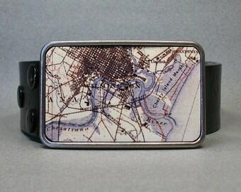 Belt Buckle Wilmington Delaware Vintage Map Cool Gift for Men or Women
