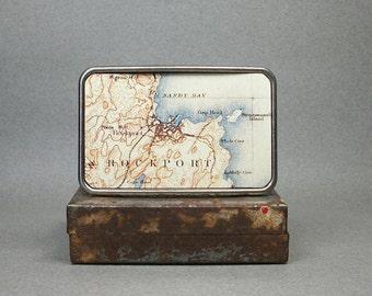 Belt Buckle Vintage Rockport Massachusetts Map Unique Gift for Men or Women
