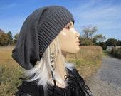 Boyfriend Beanie, Winter Hats Slouch Tam Gray Cotton Slouchy Oversized Tam Womens Urban Hipster Clothing Grey A1620