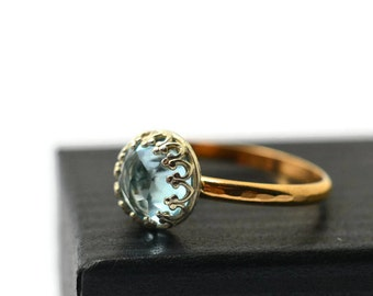 Sky Blue Topaz Ring, 14K Gold Fill Engagement Ring, Blue Gemstone Ring, Blue and Gold Jewelry