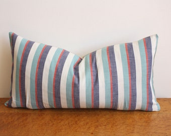 "Handmade Vintage Multi Stripe Lumbar Pillow Cover - 11"" x 20"""