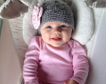 Crochet Girls Hat - Baby Hat - Newborn Hat - Toddler Hat - Winter Hat - Light Gray (Grey) Pink Flower - in sizes Newborn to 3 Years
