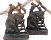 Vintage Cast Iron Western Book Ends / Bucking Horse Bookends / Cowboy and Bronco Rustic Americana