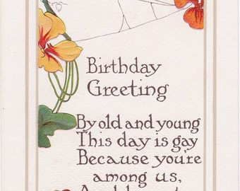 By Old And Young This Day Is Gay- 1910s Antique Postcard- Birthday Greeting- Art Nouveau Poppies- Poppy Flowers- Spiderweb- Paper Ephemera