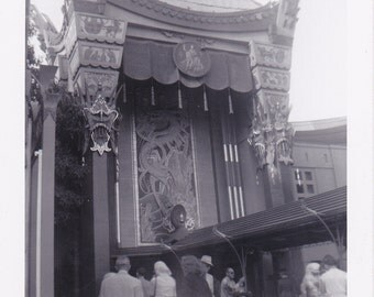 Grauman's Chinese Theater Entrance- 1950s Vintage Photograph- Hollywood, California- Old Photo- Tourist Snapshot- Paper Ephemera