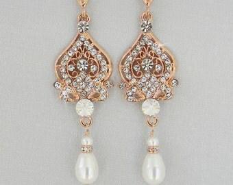 Rose Gold  Bridal  Earrings, Wedding earrings, Chandelier Swarovski Crystal, Crystal Bridal Earrings, Alexandra Chandelier Earrings