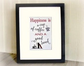 Art Print Happiness Is Coffee & Books Typography Art Print Coffee Quote Coffee Print
