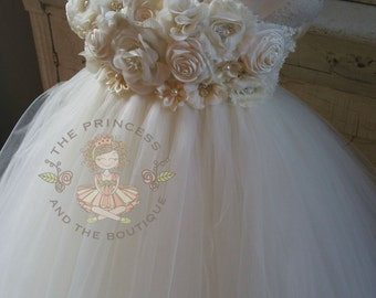 ivory flower girl dress, ivory tutu dress, ivory dress, ivory girls dress, girls dress, ivory baby dress, baby dress, tutu dress, ivory