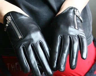 Genuine Leather Lambskin Sheepskin Scopped Zipper Punk Rocker Biker Dancer Wrist Gloves Lined