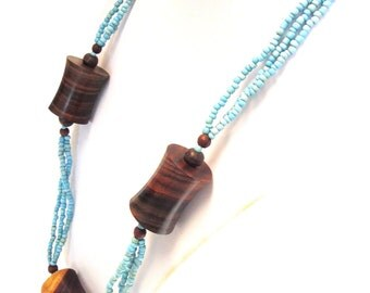 Abstract Modern Necklace Wood Turquoise Blue