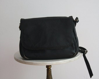 Black Leather Bag THICK HEAVY Flap Purse Distressed - 1980s VINTAGE