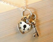 Silver heart and key pendant necklace, serendipity handcrafted jewelry