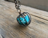 Turquoise Necklace Birthstone Boho Jewelry Blue Pendant Gemstone Women's Bohemian Fashion Raw Stone Raw Chakra December Vintage metal cage