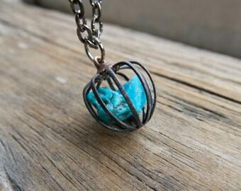 Turquoise Jewelry Necklace Blue Capricorn Boho December Birthstone Birthday Gift Sagittarius Mom Mum Star Sign Gemstone Women Bohemian cage