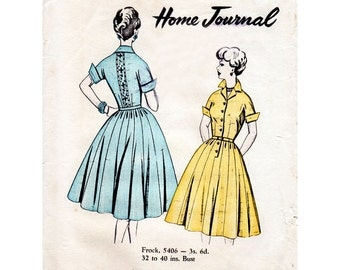 1950s Shirtwaist Dress Rockabilly Style Pattern Australian Home Journal 5406 Vintage Sewing Pattern Bust 32