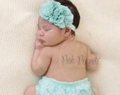 Mint flower headband- pearl flower headband- aqua chiffon flower headband- baby headband- newborn headband- baby- boho headband- baby - girl