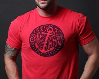Men's T-shirt Sale - Mens tops, Men's t-Shirt Sale - Red short sleeve tshirt for men - Vintage Union of ship workers inspired. Men's apparel