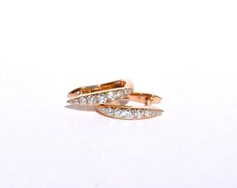 18K Rose Gold and White Diamond Spiked Hoop Earrings.