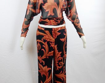 GIANNI VERSACE Iconic Print   Runway Palms and Scroll Print Silk Dolman Sleeve Blouse and Pants Set  Size 40
