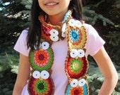 Crochet Pattern - B HOO UR Scarf - a colorful owl scarf pattern - Instant PDF Download