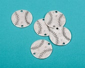 """4 Silver Oxidized BASEBALL Connector Link Charms, stamping blanks, 1-1/4""""  chs1670"""