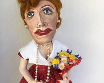 LUCILLE BALL A Handmade Hand Painted Cloth Art Doll OOAK