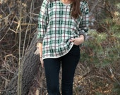 Free Shipping!!! --- Vintage Green, White & Burgundy Plaid Knit V-Neck Sweater