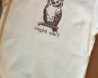 Hand Silk Screened Organic Cotton Owl Bird Onsie