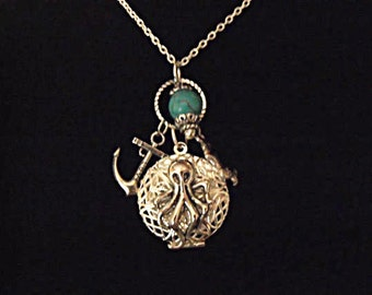 Steampunk Octopus Locket Necklace Silver  Turquoise Bead