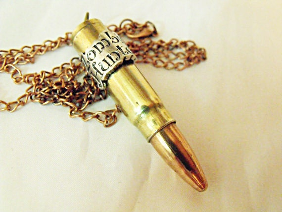 Bullet Necklace,   Large Brass Casing           Zombie Hunter  Unisex Great Unique Gift  Handmade