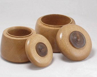 Pair of Persimmon Hand Turned Boxes