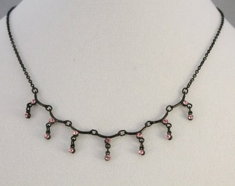 Nice Dark Silvertone With Hanging Pink Rhinestones Fashion Necklace