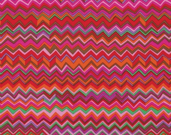 1/2 yard LAMINATED cotton fabric (similar to oilcloth) 18 x 40 - Zig Zag Warm red by Mably - BPA free Approved for children - red pink aqua